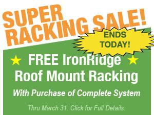 Free IronRidge Roof Mount Racking On Select Solar Panel Systems