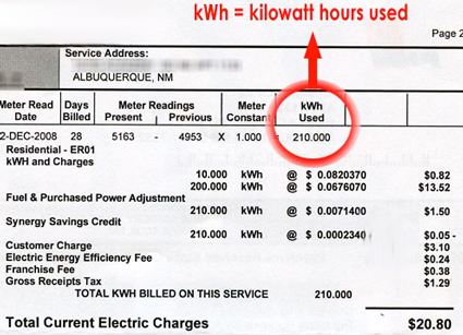 monthly power bill