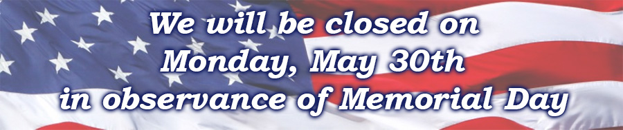 Closed on Memorial Day text overlaid on an American Flag.