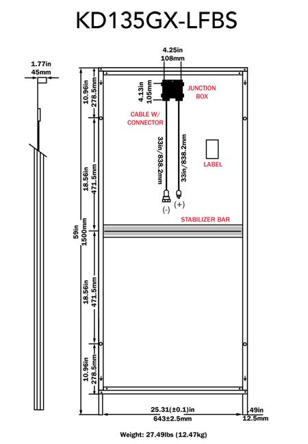 Kyocera KD135GX-LFBS 135-watt solar panel
