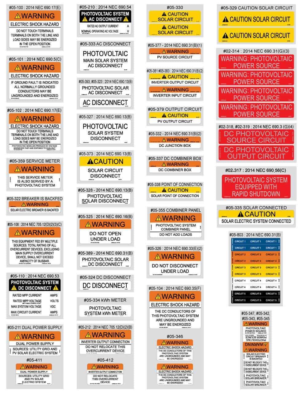 PV Labels 2014 NEC Solar Labels 54 Piece Pack 05-510