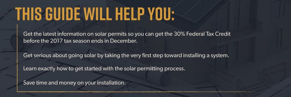 this guide will help you get the latest information on solar permits