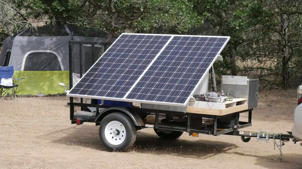 solar panels on a trailer