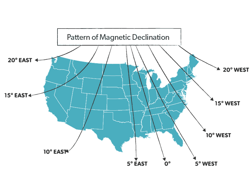 magnetic deinclination map