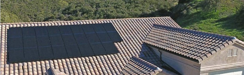 An array of black-on-black Mission Solar panels.