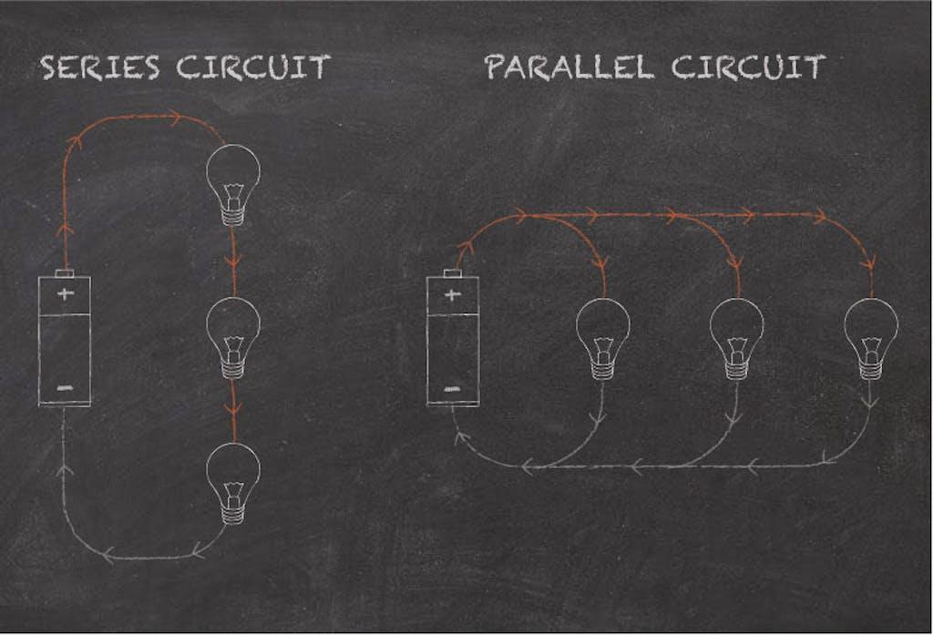 Diagram showing series wiring versus parellel wiring