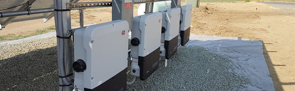 SMA Sunny Boy String Inverters, which control the array from a centralized location.