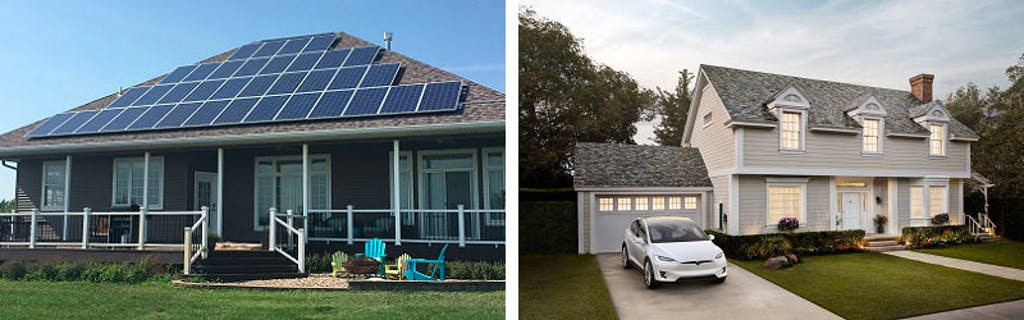 Tesla Solar Roof vs. a conventional solar array