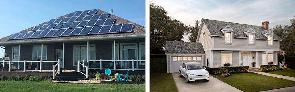 Tesla Solar Roof vs. a conventional solar array